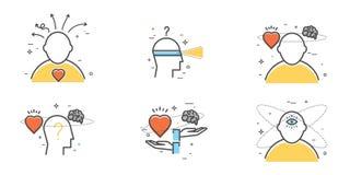 Vlakke ontwerpreeks van intuïtie, inzicht, anticiperen, keus Stock Foto