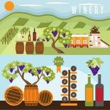 Vlakke ontwerpreeks van landschap met wijnmakerij, wijngaard, vaten vector illustratie