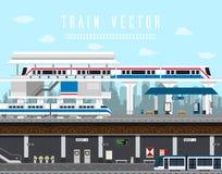 Vlakke ontwerpreeks van Trein, Hemeltrein, Metrovector royalty-vrije illustratie