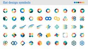 Vlakke ontwerpsymbolen, tekens, abstracte pictogrammen Stock Fotografie