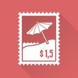Vlakke ontwerpzegel met strand en paraplu Royalty-vrije Stock Foto's