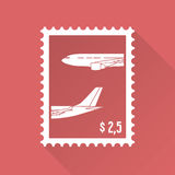 Vlakke ontwerpzegel met vliegtuigen Stock Afbeeldingen