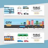 Vlakke Openbaar Vervoer Horizontale Banners stock illustratie