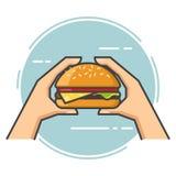 Vlakke overzichtsvector Hand die een hamburger houden Stock Afbeelding