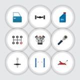 Vlakke Pictogram Autoreeks Pal, Automobiel Deel, Geluiddemper en Andere Vectorvoorwerpen Omvat Benzine, ook Hand vector illustratie