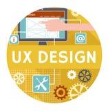 Vlakke pictogram of banner voor uxontwerp Stock Foto
