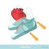Vlakke pictogram cardiogeschiktheid Harttouwtjespringen en tennisschoenen op wit Royalty-vrije Stock Fotografie