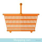 Vlakke pictogram het winkelen mand Stock Foto