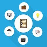 Vlakke Pictogram Inkomende Reeks Grafiek, Portefeuille, Parasol en Andere Vectorvoorwerpen Omvat ook Parasol, Calculator Royalty-vrije Stock Afbeelding