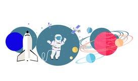 Vlakke Pictogram van exploratie het Nieuwe Planeten stock illustratie