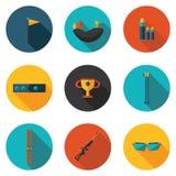 Vlakke pictogrammen biathlon Royalty-vrije Stock Afbeelding