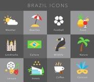 Vlakke pictogrammen Brazilië, vectorreeks Royalty-vrije Stock Foto's