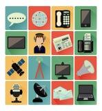 Vlakke pictogrammen communicatie reeks Stock Afbeelding