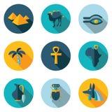 Vlakke pictogrammen Egypte Royalty-vrije Stock Foto's