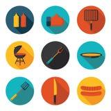 Vlakke pictogrammen en grill Stock Afbeeldingen