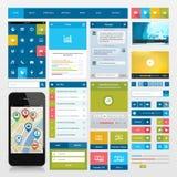 Vlakke pictogrammen en ui Webelementen voor mobiele app en  Stock Afbeeldingen