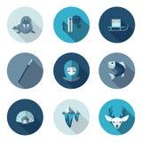 Vlakke pictogrammen eskimo Royalty-vrije Stock Fotografie