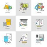 Vlakke pictogrammen, het onderzoeken, opleiding, bouw en techniek stock illustratie