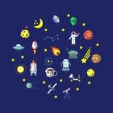 Vlakke pictogrammen met donkere achtergrond over ruimtemateriaalillustratie De kleurrijke inzameling van kosmische ruimtestickers Royalty-vrije Stock Fotografie
