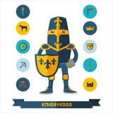 Vlakke pictogrammen met ridder Stock Foto
