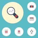 Vlakke Pictogrammen Sociale Media Advertenties, Toekenning, Controle en Andere Vectorelementen Royalty-vrije Stock Foto's