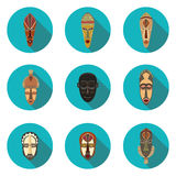Vlakke pictogrammen van Afrikaanse maskers Royalty-vrije Stock Foto