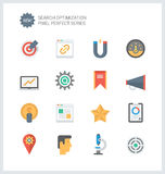 Vlakke pictogrammen van de pixel de perfecte SEO diensten Royalty-vrije Stock Foto's