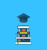 Vlakke pictogrammen van graduatie GLB en hoophandboeken stock illustratie