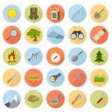 Vlakke pictogrammen van het kamperen vector illustratie