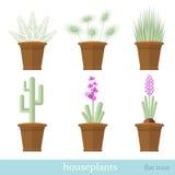 vlakke pictogrammen van huisinstallaties en bloemen op wit Royalty-vrije Stock Foto's