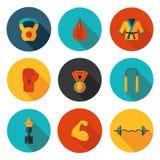 Vlakke pictogrammen van vechtsporten Stock Foto's