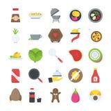 Vlakke pictogrammen van voedsel en dranken Royalty-vrije Stock Afbeelding