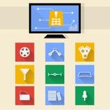 Vlakke pictogrammen voor autoreparatie Stock Foto's