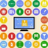Vlakke pictogrammen voor autoreparatie Stock Fotografie