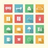 Vlakke pictogrammen voor hotel Stock Afbeelding