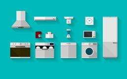 Vlakke pictogrammen voor keukentoestellen Stock Foto's