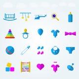 Vlakke pictogrammen voor kinderenspeelgoed Royalty-vrije Stock Afbeelding