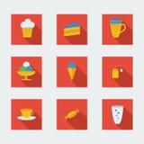 Vlakke pictogrammen voor koffie Stock Foto's