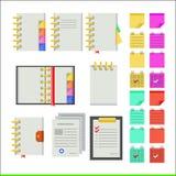 Vlakke pictogrammen voor notitieboekjes Royalty-vrije Stock Foto's
