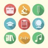 Vlakke pictogrammen voor onderwijs Stock Foto