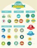 Vlakke pictogrammen voor reisbureaus vector illustratie