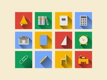 Vlakke pictogrammen voor schoollevering Stock Afbeelding