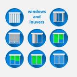 Vlakke pictogrammen voor vensters en luifels Stock Afbeeldingen
