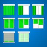 Vlakke pictogrammen voor vensters en luifels Royalty-vrije Stock Fotografie