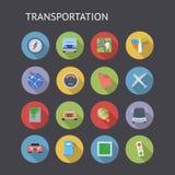 Vlakke Pictogrammen voor Vervoer Stock Afbeelding