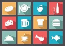 Vlakke Pictogrammen voor Voedsel en Dranken Stock Fotografie