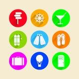 Vlakke pictogrammen voor vrije tijd Stock Foto