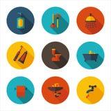 Vlakke pictogrammenbadkamers in vectorformaat Stock Foto's