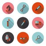 Vlakke pictogrammenbiologie Stock Fotografie