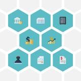 Vlakke Pictogrammenbrandkast, Bank, Document en Andere Vectorelementen De reeks Symbolen van Boekhoudings Vlakke Pictogrammen omv royalty-vrije illustratie